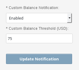 Custom Balance Notification