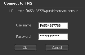Adobe Flash Media Live Encoder authentication