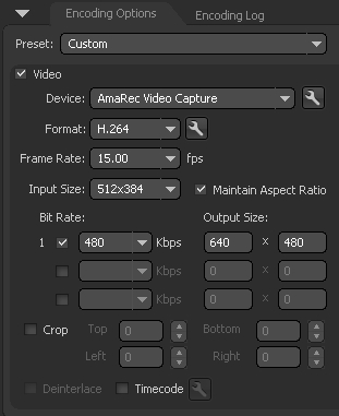 Adobe Flash Media Live Encoder - bitrate and format