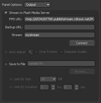 Adobe Flash Media Live Encoder output settings