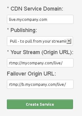 Create CDN Live Pull service