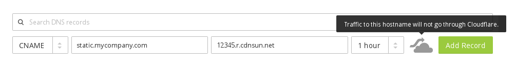 Cloudflare DNS add CNAME for CDN