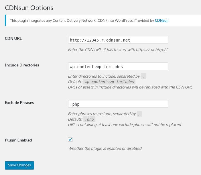 CDNsun WordPress CDN Plugin Settings