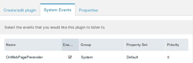MODX Plugin System Events
